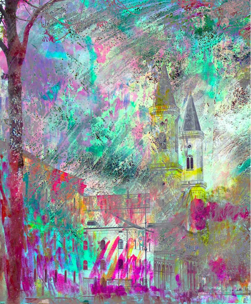 Collage aus Fotografie und Gemälde
